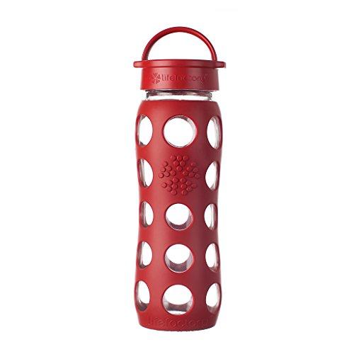 Lifefactory Glas Trinkflasche mit Silikon-Schutzhülle, BPA-frei, auslaufsicher, spülmaschinenfest, 650ml, rot