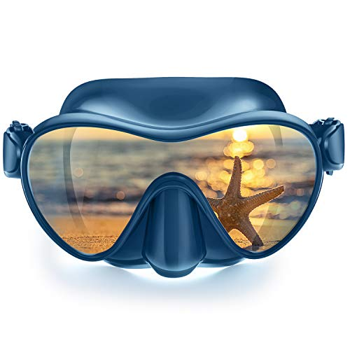 X99 Scuba Mask, Diving Snorkel Frameless Mask Goggles, Anti-Fog Anti-Leak Panoramic Glass for Swimming Diving Snorkeling, Soft Waterproof Silicone Comfortable Durabel Adults Youth