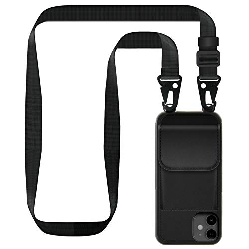 "ZhinkArts Handykette kompatibel mit Apple iPhone 11-6,1"" Display - Smartphone Necklace Hülle mit Band - Handyhülle Case mit Kette zum umhängen in Schwarz Lanyard mit Tasche"