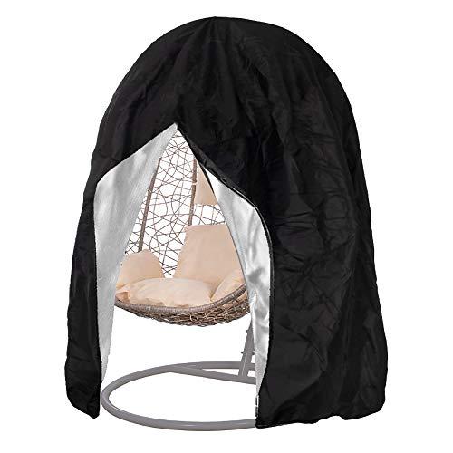 SPRINGOSⓇ Schutzhülle für Gartenstühle Abdeckung Bezug für Gartensessel Hängesessel Cocoon Schwarz Anti-UV/Anti-Wind/Wasserdicht (115 x 190 cm, Schwarz)