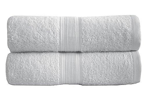 leevitex 2er Pack Frottier Saunatücher Set 80x200cm - Qualität 500 g/m² - 100% Baumwolle in 19 modernen Farben (Weiß)