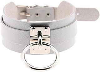 Collar European and American Harajuku PU Leather Silver Single Ring Collar Wide Street-Snap Nightclub O-shaped Choker Neck...