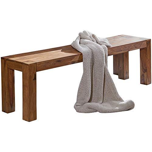 FineBuy Esszimmer Sitzbank Massiv-Holz Sheesham 140 x 45 x 35 cm Design Holz-Bank Natur-Produkt Küchenbank Landhaus-Stil dunkel-braun Bank 3-Sitzer für innen ohne Rücken-Lehne Echt-Holz unbehandelt
