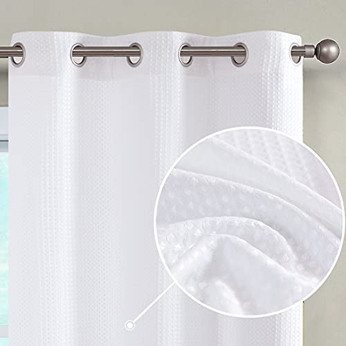 JINCHAN White Curtains for Bedroom Waffle-Weave Textured Curtain Panels for Living Room Light Filtering Window Treatment 84 Inch Length 2 Panels