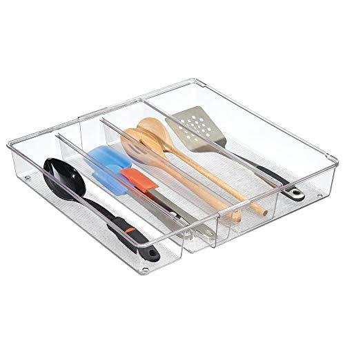 mDesign ausziehbarer Besteckkasten durchsichtig – der ideale Schubladen-Organizer für die Küchenschublade – Besteckeinsatz für Küchenutensilien jeglicher Art – 4 flexible Fächer