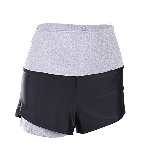 EUFANCE Mujeres Gimnasio de Fitness Yoga Pantalones de Entrenamiento de los Deportes de Ejercicio de Secado Rápido Mini Hot Shorts La Luz Gris XL