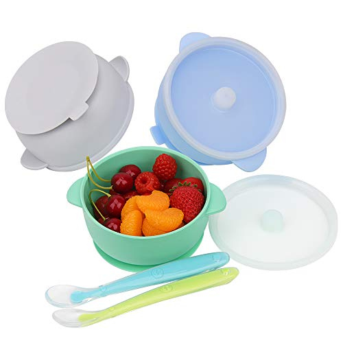Baby Bowls, Best Suction Bowls for Baby Toddler self-Feeding, 100% Safe Leak-Proof Silicone Bowl with Lid, Disheasher & Micromave Safe (White & Green & Blue)