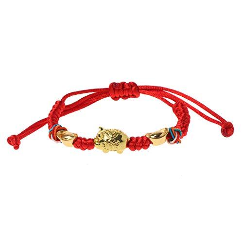 Rongzou Lucky Kabbalah Red String Trenzado Oro Cerdo Encanto Pulseras Joyería Moda