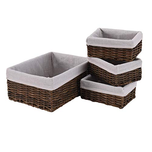 li qig Storage Basket Hand Woven Toy Bins WaterproofHome Organizer, Brown 1pc 12.6x9.4x5.5 3pcs 7.9x5.5x3.6