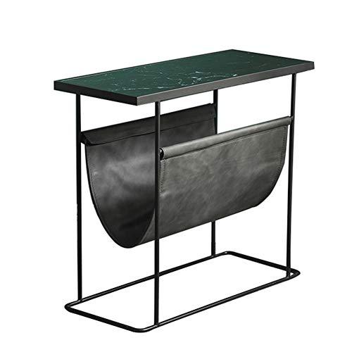 Mesa Auxiliar Sofá de La Sala, Pequeña Mesa de Té de Esquina de Lujo/Armario de Almacenamiento de Cabecera Negro, 62×26×55cm
