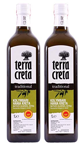 2x 1,0l Terra Creta Olivenöl P.D.O. Kolymvari | Extra natives Olivenöl von Kreta | + 1 x 20ml Olivenöl'ElaioGi' aus Griechenland