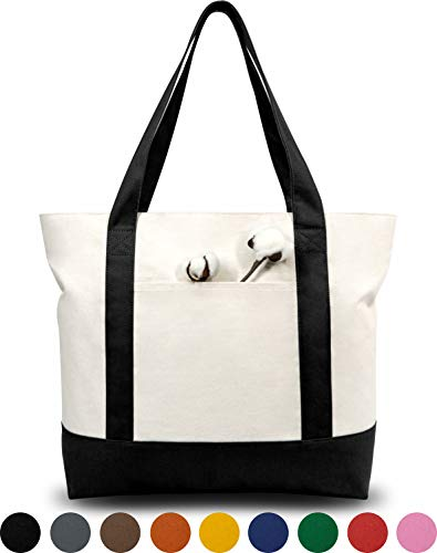 "LARGE CAPACITY & DURABILITY: the size is 21"" x 15"" x 6"" and it is made of heavy duty 100% 12oz cotton canvas with 8"" x 8"" outside pocket for carrying small items. Further, the top zipper closure makes your goods safer. Its handle is 1.5"" W x 25"" L, w..."