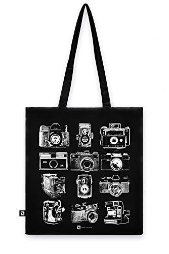 Galeria LueLue Schwarz Baumwolltasche, Stark Tote Bag, Baumwolle Bio, Handgemacht, Fotografie Grafike - Analoge Kameras, Zenit, Polaroid, Camera Obscura Vintage Fotografie