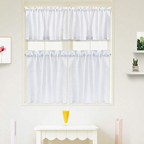 """IDEALHOUSE 3 Pieces Window Curtains and Valance Set for Bathroom Kitchen, Waffle Weave Fabric Rod Pocket Short Small White Bathroom Window Curtains (60"""" x 15"""" Valance, 2 Set of 30 x 24"""" Tiers)"""
