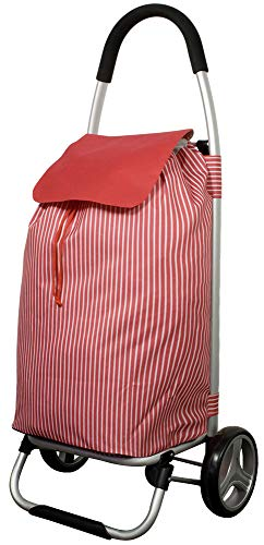 Trendyshop365 Einkaufstrolley Premium Klappbar 42 Liter Rot Gestreift