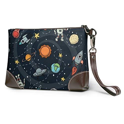 XCNGG Geldbörsen Clutch Handy Geldbörsen Space Leder Kleine Wristlet Geldbörsen Handtasche