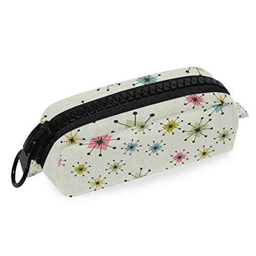 Mnsruu Large Pencil Case,Vintage Atomic Stars Pencil Pouch Bag Stationery Storage Bag for Students Girls Boys