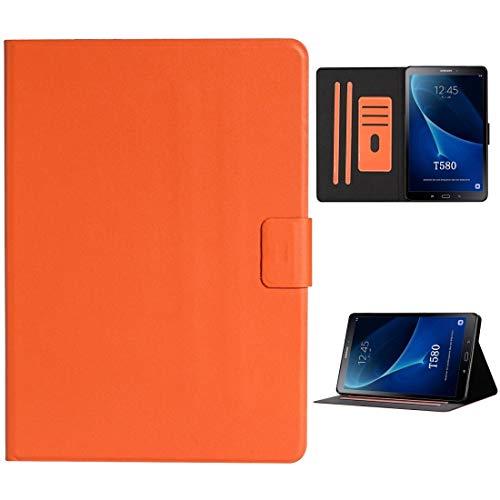 BZN - Funda para Samsung Galaxy Tab A 10.1 T580/T585 (2016), color liso, horizontal, con ranuras para tarjetas, soporte y función de reposo, color naranja (rojo) (morado) (negro), color naranja