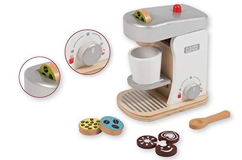 Smart Planet - Holz Kaffeemaschine mit Zubehör für die Kinderküche Kaufmannsladen Kinder Spielzeug Kaffe Küche Kochen Lernen