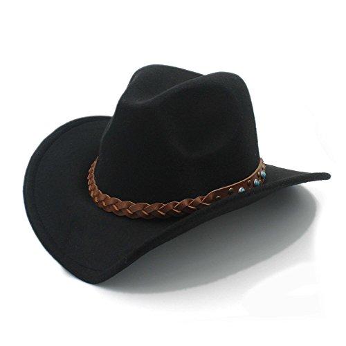 Ruanyi 100% de Lana de Invierno de la estación de Invierno Occidental Sombrero de Vaquero para Womem Hombres de ala Ancha Chaqueta de Jazz de la Vaquera con Sombrero de Cuero Toca Cap Punk cinturón