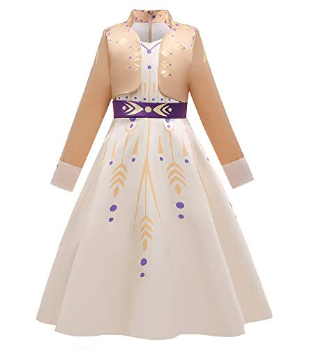 O.AMBW Disfraz de Hermana Elsa Reina de la Nieve para nias, Vestido de Princesa para nios, Cosplay Princesa Anna, Color Beige Manga Larga Fiesta Carnaval Navidad Halloween