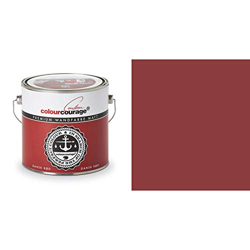 2,5 Liter Colourcourage Premium Wandfarbe Dansk Rød Rot Dunkelrot | L709449587 | geruchslos | tropf- und spritzgehemmt