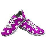 Dolyues Zapatillas de deporte para correr con estampado de leopardo rosa para mujer Zapatillas deportivas transpirables, Pata de perro púrpura, 36 EU