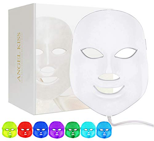 Led Face Mask Light Therapy, Angel Kiss 7 Color Blue & Red Light Therapy Facial Skin Care Mask - Korea PDT Technology for Skin Rejuvenation Anti Aging Skin Tightening Home Beauty Photon Led Mask