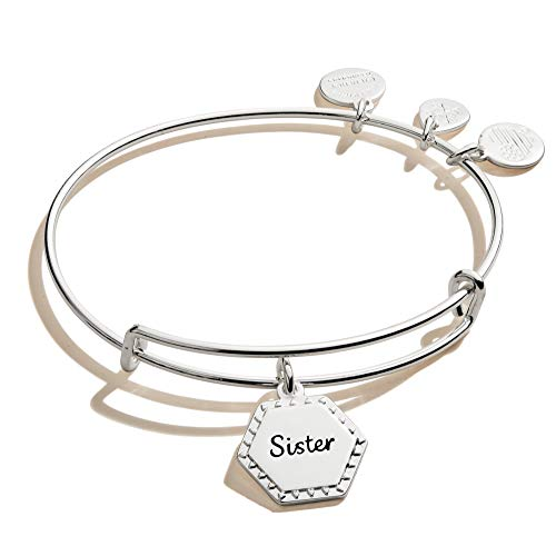 Alex and Ani Because I Love You Sister Expandable Wire Bangle Bracelet for Women, Woven Together Charm, Shiny Antique Silver Finish, 2 to 3.5 in