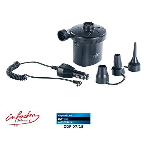 infactory Elektrische Luftpumpe: Kompakte Akku-Luftpumpe zum bequemen Auf- und Abpumpen (Schlauchbootpumpe)