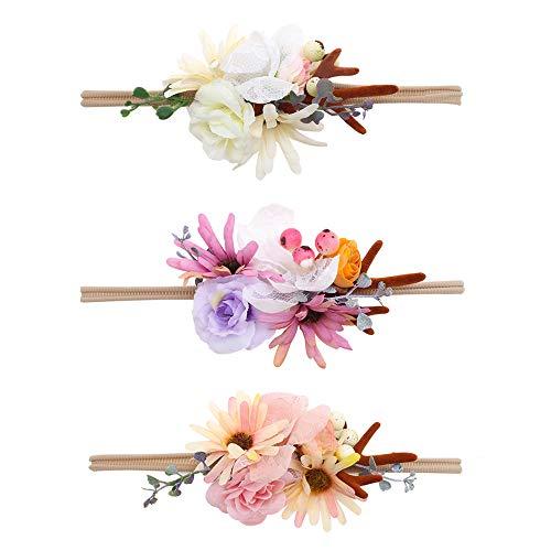 OOSAKU Cintas de Flores para bebés Diadema elástica de Nylon Accesorios para el Pelo del niño recién Nacido