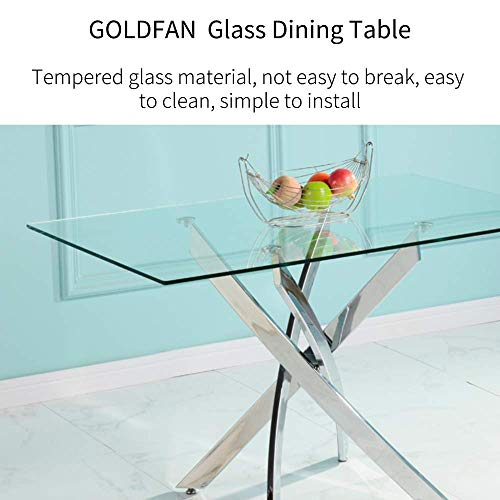 GOLDFAN Modern Tempered Glass Dining Table Rectangle Chrome Metal Kitchen Table for Home Office Lounge,120CM