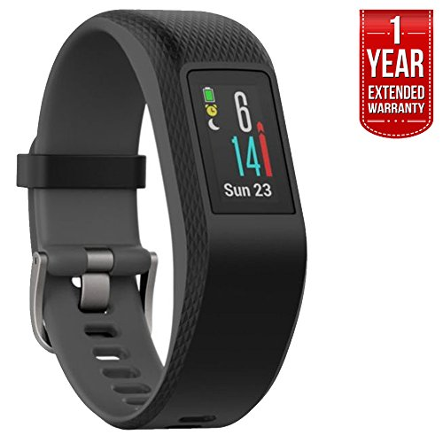 Garmin Vivosport Smart Activity Tracker + Buil-in GPS (Slate, L) 010-01789-12 + 1 Year Extended Warranty