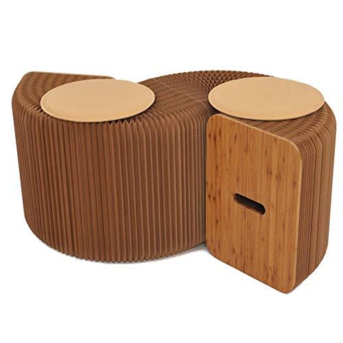 QQXX kruk in Europese stijl uitschuifbare bank kruk klappapier kruk woonkamer creatief thuis multifunctionele eettafel kruk (kleur: bruin, maat 120-1503142 cm. 1 1