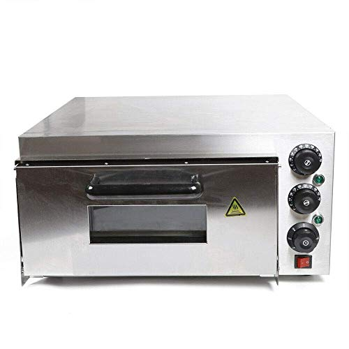 Horno de pizza eléctrico de acero inoxidable con 1 cámara, horno para pizza, pan y bollería, potencia de 2000 W, temperatura de hasta 350 °C (1 cámara)