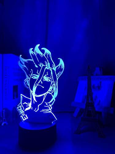 3D Nacht Lampe Anime Illusion Lampe Anime Dr Stone figurtisch 3D Lampe für Kinder Kind schlafzimmer dekor nachtlicht Manga Geschenk für ihn acryl led nachtlicht Lampe ZMSY