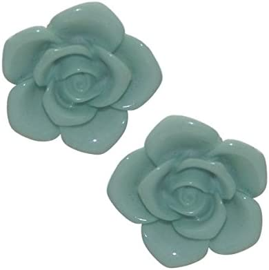 IFRAH Gold tone Turquoise Rose Clip On Earrings