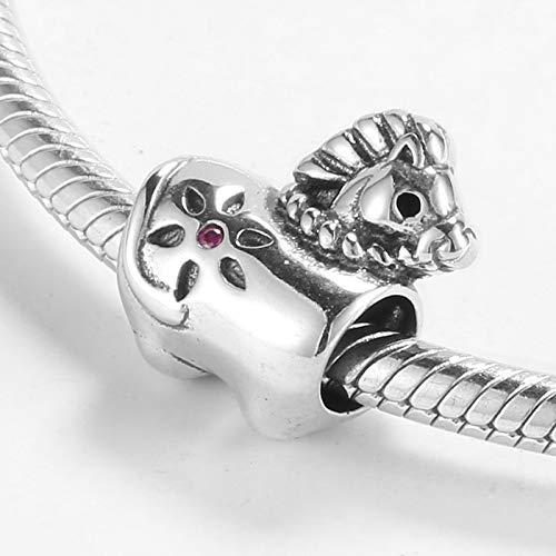 HGFRT Spacer Hohlperlen 925 Sterling Silber Märchen Holzpferd Feine Perlen Für DIY Armbänder Halsketten Schmuck Kleiner Charme Perlen