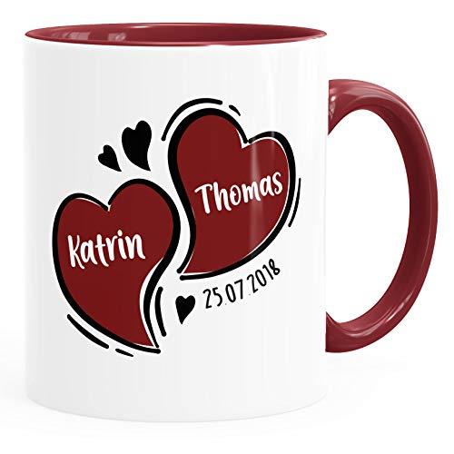 SpecialMe® Kaffee-Tasse Herzen personalisiert anpassbare Namen Datum Liebe Geschenk Hochzeitstag Jahrestag inner-bordeaux Keramik-Tasse