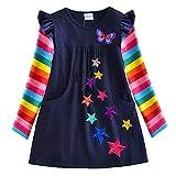 VIKITA Vestidos para Niñas T-Shirt Manga Larga Algodón Casual Patrón de Estrella Lh5808 6T