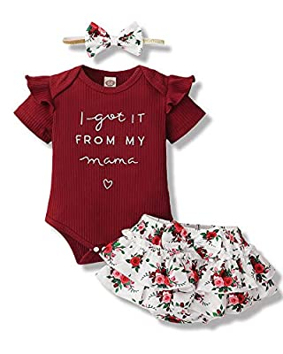 Infant Baby Girl Clothes Romper Shorts Set Floral Baby Girls' Clothing Ruffle Baby Girl Stuff Cute Baby Girl Gifts Maroon 6 to 12 Months Baby Girl Clothes by