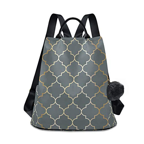Moroccan Tartan Waterproof Fashion Backpack for Women Anti Theft Womens Classical Daypack Travel Shoulder Bag