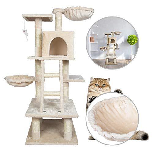 Froadp Aktivitätskratzbäume 120cm Höhe Kratzbaum Kletterbaum mit Großer Plattform und Sisal-Seil Plüsch Höhlen Katzenmöbel mit Kratzbett für Katzen(Beige, Type A)