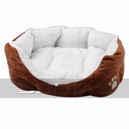 SODIAL(R) Luxus einzigartigen warmen Innen weichen Haustier Hund Katze Bett + Kissen Hundewelpen Sofa Haus Bett mit Mat Supplies L braun