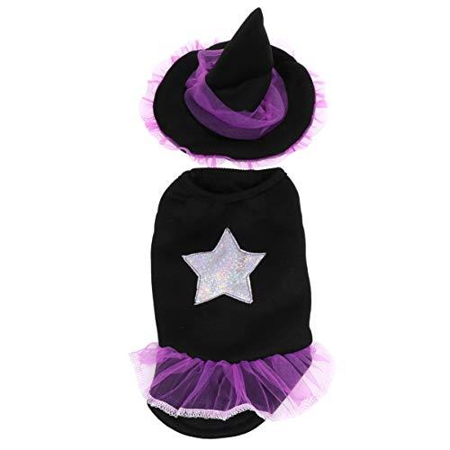 Toyvian Disfraz de Mascota de Halloween Set Perro Sudaderas con Capucha Mascota Bruja Sombrero para Gato Cosplay Partido Suministros M