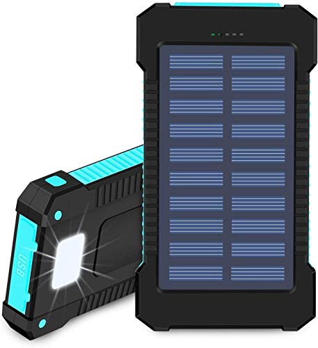 Hidver Solar Power Bank 20000mAh Portable Phone Charger Waterproof Battery Packs with Dual Ports, Compass, Flashlight for Camping Solar Panel for Smartphones,GoPro Camera,GPS and Other Devices