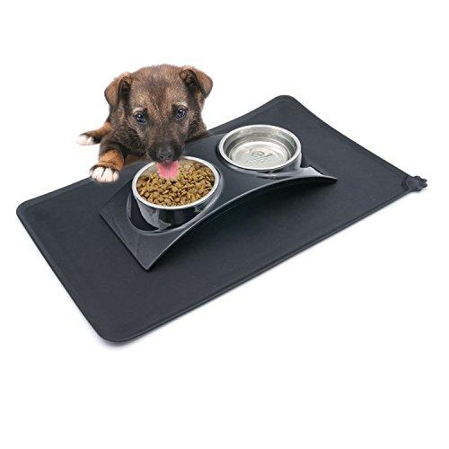 SuperDesign Fressnapf und Matte Vorteilspackung für Hunde und Katzen, klein, Schwarz