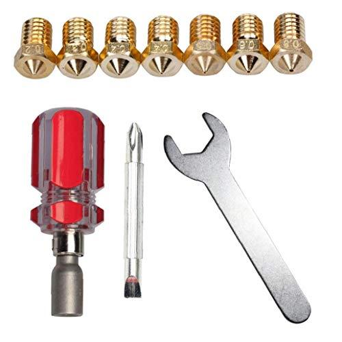 Homiki 3D-Drucker Düse Ersatz-Werkzeug-Set Spanner 0.2mm 0.3mm 0.4mm 0.5mm 0.6mm 0.8mm J-Head E3D V5 V6 Industrieverbrauchsgut