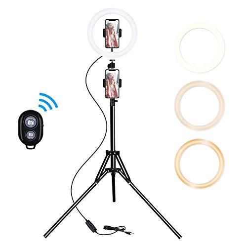 Luz de anillo selfie de 10 pulgadas con soporte de trípode y 2 soportes para teléfono, luz LED regulable para fotografía/maquillaje/transmisión en vivo/YouTube, compatible con iPhone/Android