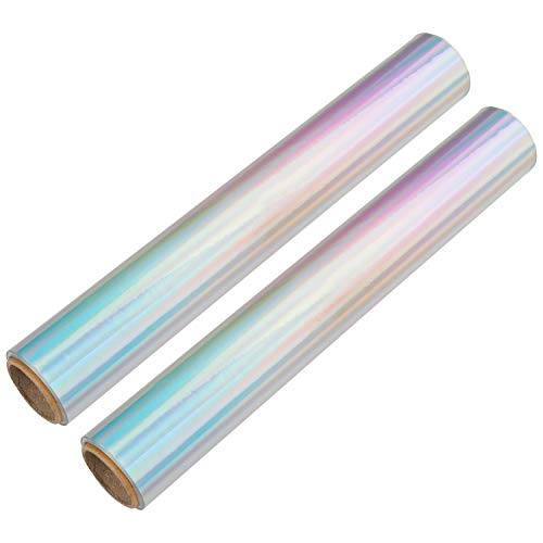 Klebefolie Vinyl-Folie Laser Silber (2er-Pack) - Selbstklebende Folie holographisch -B29.6cm, L152cm, D 0.07mm - Wasserfeste Folie zum Aufkleben für DIY, Basteln, Scrapbook, Home Deko, Geschenke